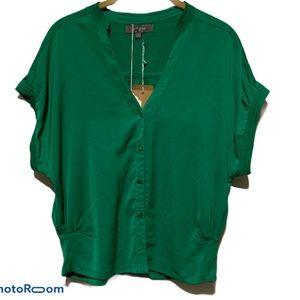 Umgee Green Blouse Forrest Wide Cap Short Sleeve
